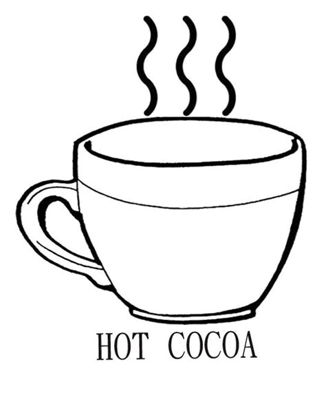 drinking hot chocolate cocoa coloring page kids coloring