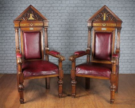 Masonic Chairs For Sale by Pair Of Masonic Throne Chairs C1894 272598