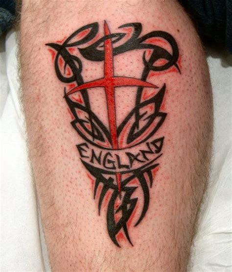 english flag tattoos designs on leg