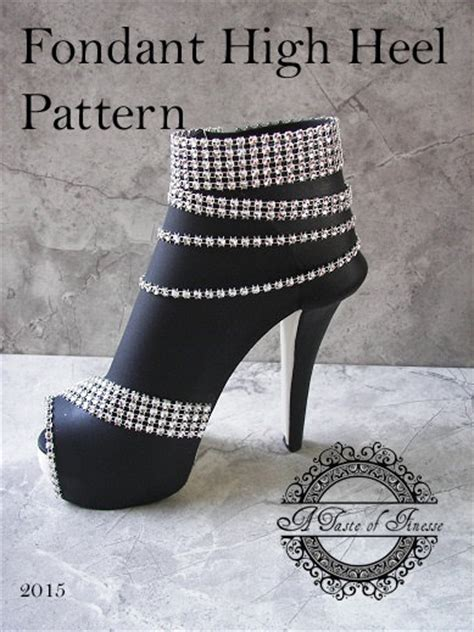 high heel shoe fondant template pdf instant fondant high heel boot pattern
