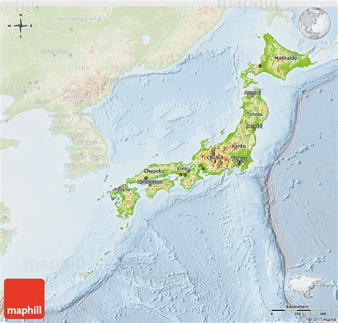 physical map of japan physical 3d map of japan lighten