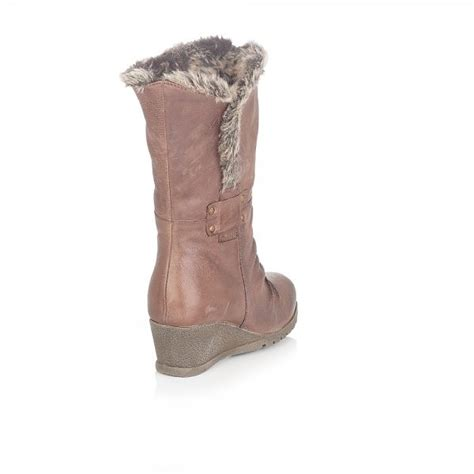 lotus hadley brown leather wedge boot lotus from