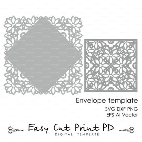 silhouette cameo flip it card template downloads wedding invitation card envelope template lace by