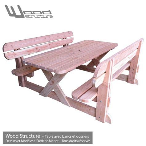 banc de picnic en bois table avec bancs et dossiers table de jardin wood