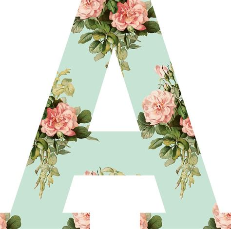 printable alphabet letters with flowers pink and mint floral alphabet clipart pink rose letter