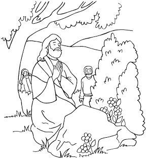 jesus praying in the gethsemane garden coloring page