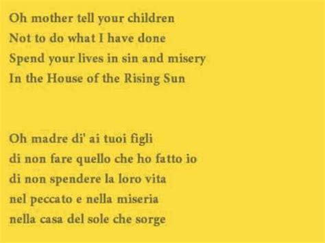 the house of the rising sun lyrics the house of the rising sun cover with lyrics testo traduzione italiano youtube