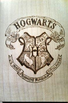 Hogwarts Logo On Wood harry potter hogwarts house crest wood coasters by