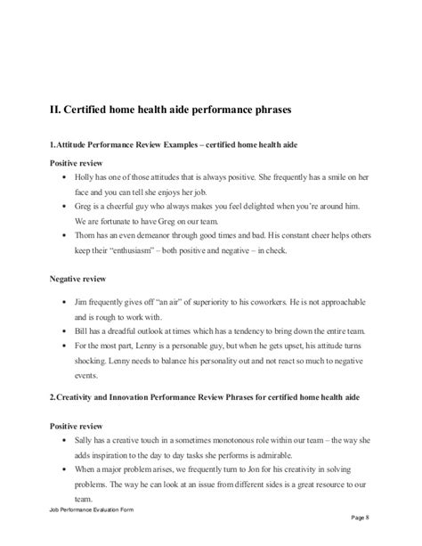 certified home health aide certified home health aide performance appraisal