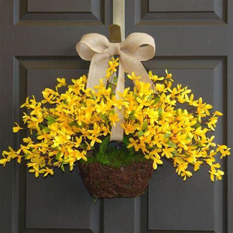 Easter Wreaths For Front Door Wreath Easter Wreaths Yellow Forsythia Wreath Front Door Wreath Decorations Burlap Bow