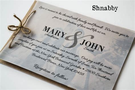 wedding invitations using vellum paper rustic kraft paper wedding invitation set with vellum overlay