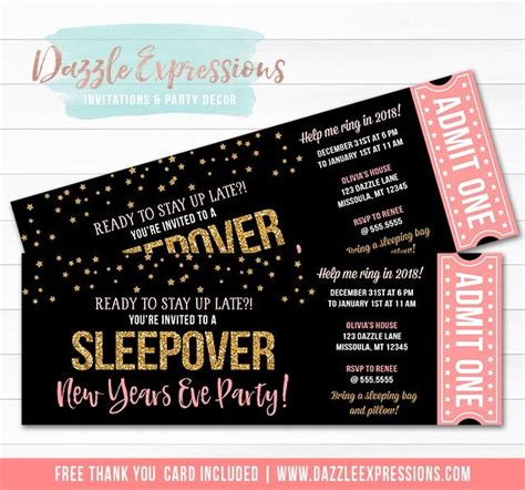 Printable New Years Eve Sleepover Ticket Invitation Pink And Gold Nye Slumber Party Teen New Years Ticket Template