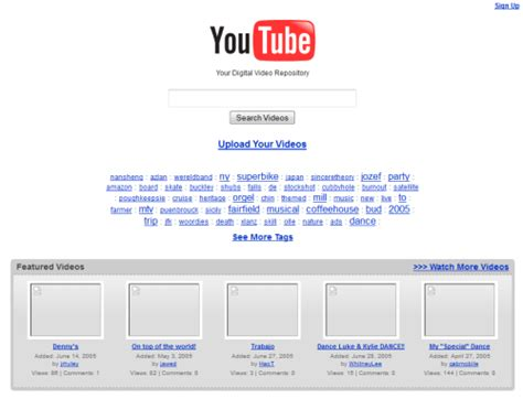 youtube layout evolution image gallery old youtube layout 2005