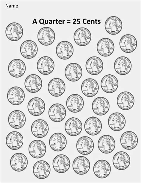 printable picture of quarter kindergarten and mooneyisms coins part four a quarter