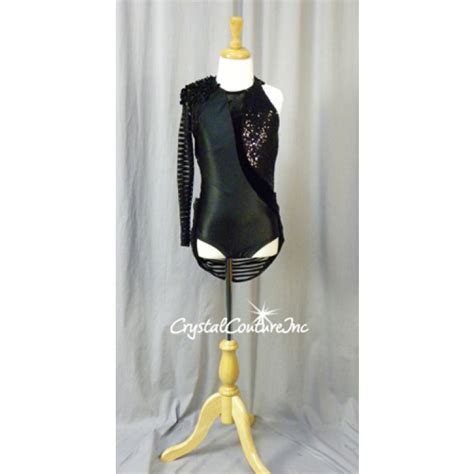 beaded shoulder pads couture black textured one sleeved leotard with