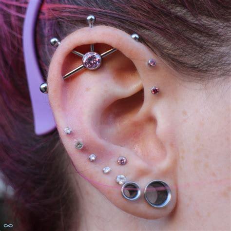 trident industrial piercing 14g rosa herz edelstahl industrial barbell ohr piercing