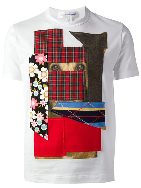 Patchwork Shirts - comme des gar 231 ons patchwork tshirt in white for lyst