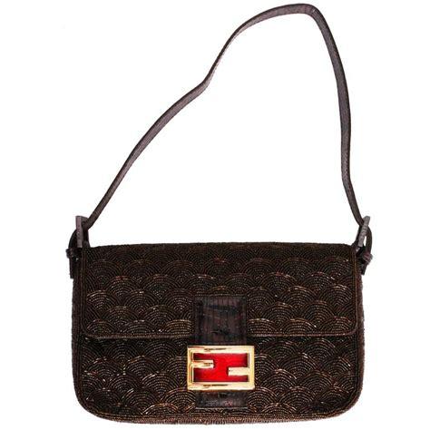 fendi beaded handbag brown beaded fendi baguette bag at 1stdibs