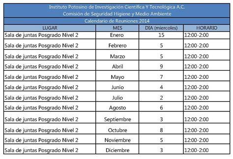 calendario de reuniones de la cshyma comision de seguridad  higiene  medio ambiente
