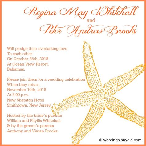Wording Destination Wedding Invitations by Wording Snydle