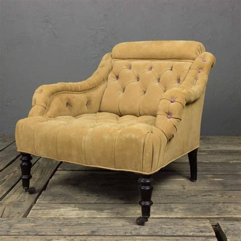 suede armchair 19th century tufted suede armchair for sale at 1stdibs
