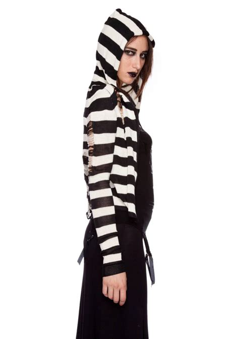 lip service fashion victim tattered sweater hoodie dolls
