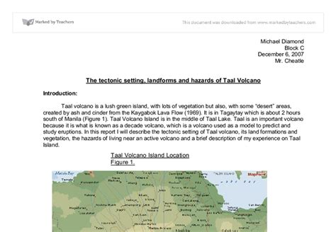Essay About Taal Volcano by Taal Volcano Gcse Geography Marked By Teachers