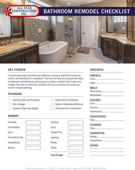 bathroom remodel checklist bathroom renovation contract amazing on bathroom pertaining to