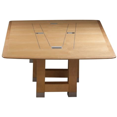 Trapezoid Conference Table 14 Foot Used Veneer Conference Table Maple National Office Interiors And Liquidators