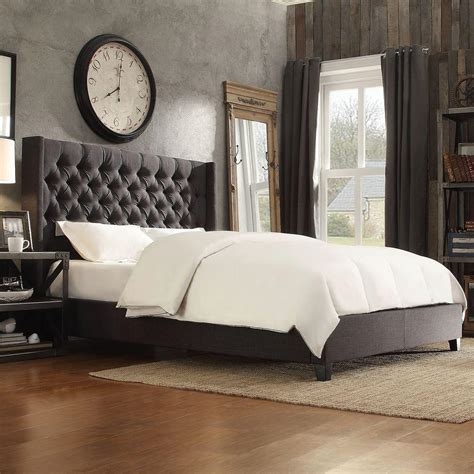 charcoal bedding homesullivan wentworth charcoal king upholstered bed 40e784bk 1dglbed the home depot