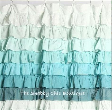 green ruffle shower curtain shabby beach cottage chic dreamy ruffled green teal