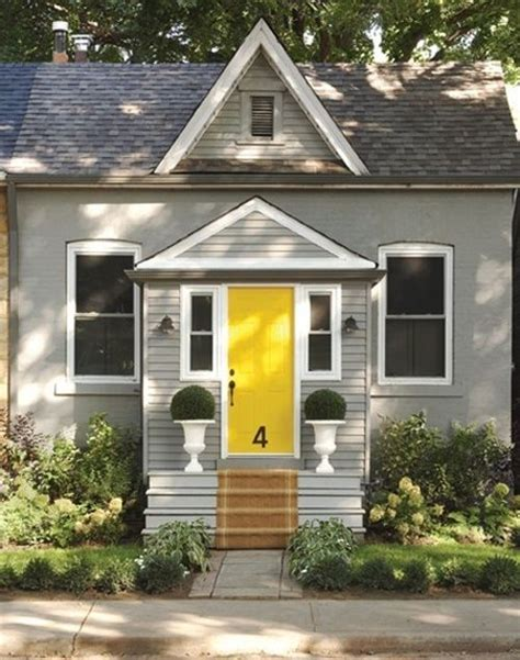 Grey House Yellow Door yellow door on grey house architecture design
