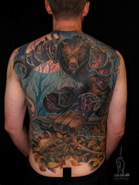 world of warcraft tattoo dedicated world of warcraft back worgen