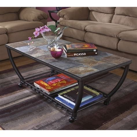 antigo slate tile rectangular coffee table and