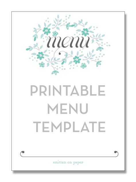 printable menu templates printable menu template from smitten on paper diy