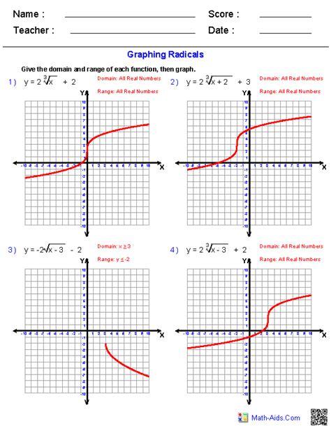 Functions Worksheet by Algebra 2 Worksheets Radical Functions Worksheets