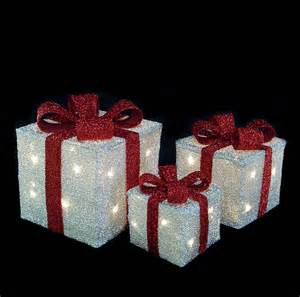 christmas essentials light up christmas boxes silver