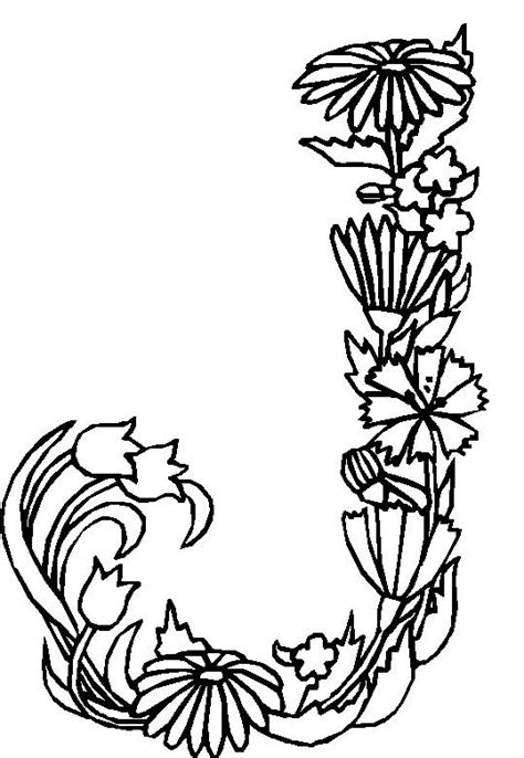 Letter J Coloring Pages For Adults by Kleurplaten En Zo 187 Kleurplaten Alfabet Bloemen