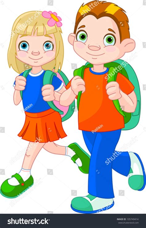 Find I Went To School With Illustration Of And Boy Go To School 105749414