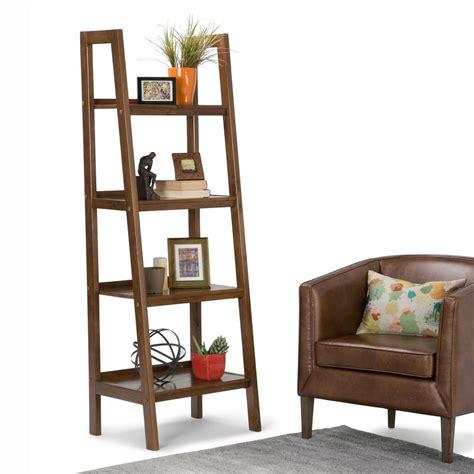 simpli home sawhorse medium saddle brown ladder bookcase