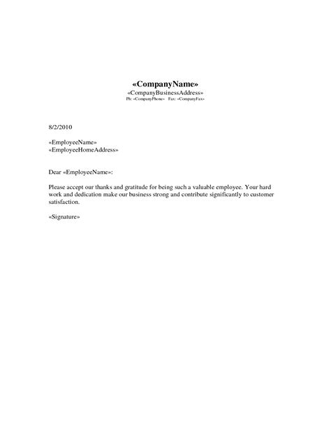 appreciation letter format for best performance copy thank you