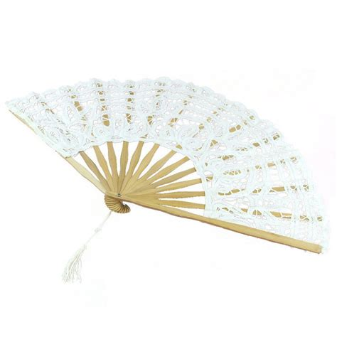 Handmade Fan - handmade cotton lace folding fan for bridal
