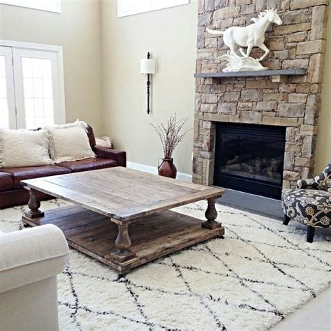 oversized balustrade coffee table  farmhouse living   living roomin