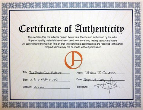 certificate of authenticity autograph template oliveira contemporary playmate jayde