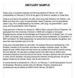 how to write obituary template 25 obituary templates and sles template lab