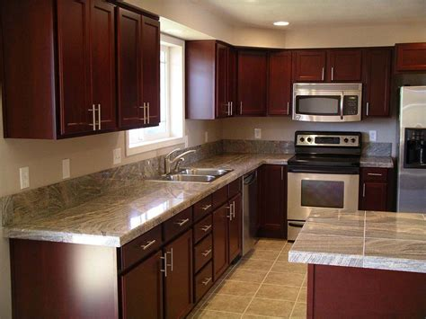 Granite Cherry Cabinets Kitchen Kitchen After Remodel Kitchen Design Granite