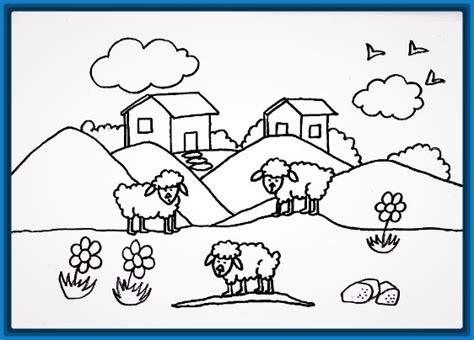 imagenes de paisajes faciles para colorear lindas casas faciles para dibujar