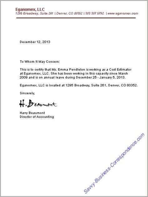 Official Letter Of Employment Business Letters Employment