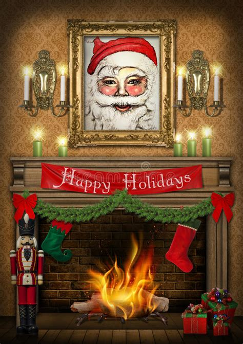 fireplace nutcracker happy holidays nutcracker fireplace poster stock illustration image 47185053