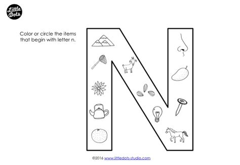 Dots N Dots preschool letter n activities and worksheets dots